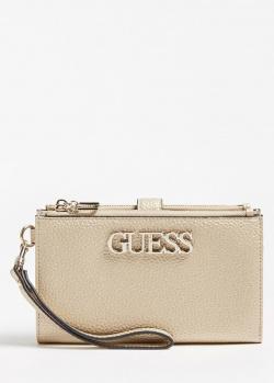 Золотистый кошелек Guess Uptown Chic с логотипом, фото