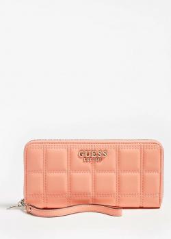 Стеганый кошелек Guess Kamina кораллового цвета, фото