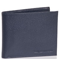 Портмоне из зернистой кожи Trussardi Jeans синего цвета, фото