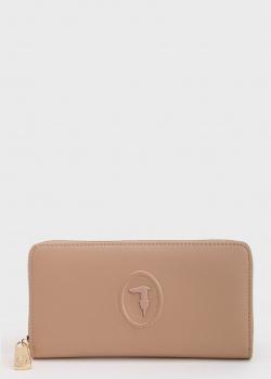 Бежевый кошелек Trussardi с фирменным тиснением, фото