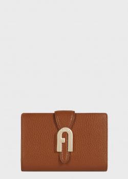 Коричневое портмоне Furla Sofia Grainy из текстурированной кожи, фото