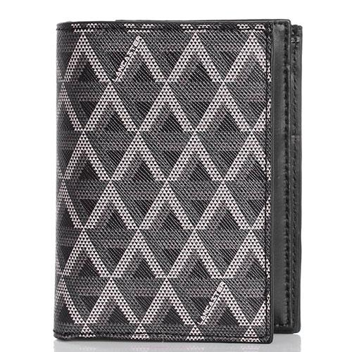 Бумажник из кожи сафьяно Lancaster серый с черным, фото