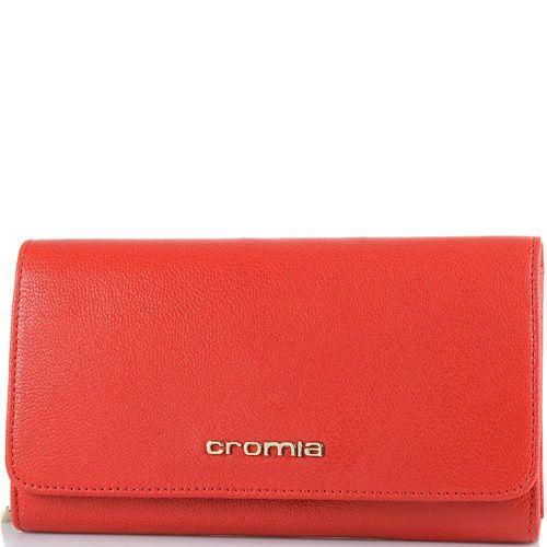 Женский кошелек Cromia Achela кожаный красный горизонтальный на кнопке, фото