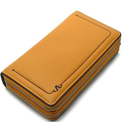 Объемное портмоне Roncato Reale горчичного цвета с множеством отделений, фото