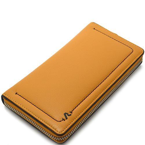 Горизонтальное портмоне Roncato Reale горчичного цвета с большим отделением на молнии, фото