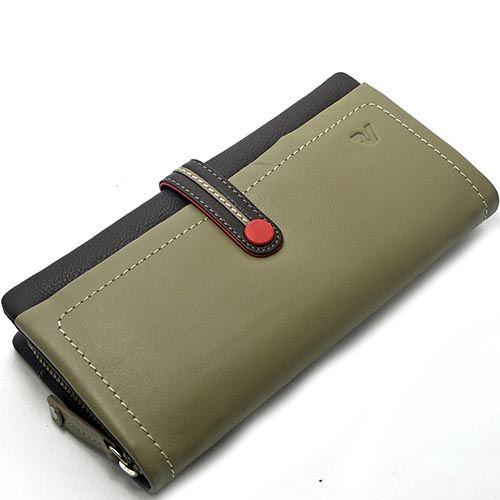 Женское горизонтальное портмоне Roncato Candy серого цвета на кнопке, фото