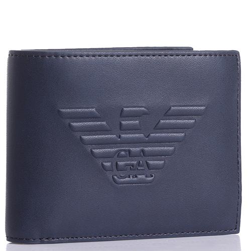 Синее портмоне Emporio Armani с брендовым тиснением, фото
