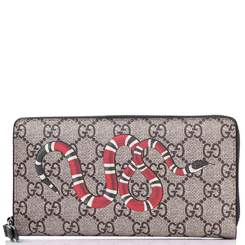 Коричневый кошелек Gucci с брендовым принтом, фото