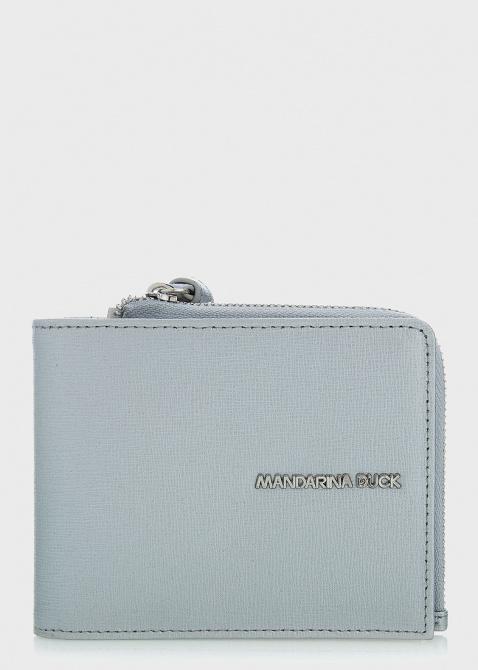 Серебристое портмоне Mandarina Duck Essential с логотипом, фото