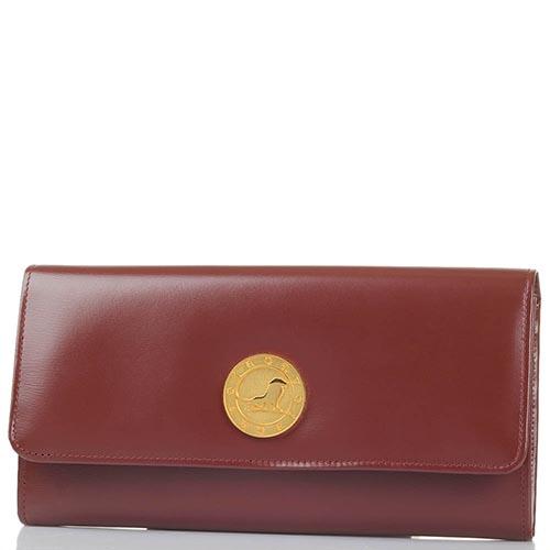 Коричневое женское портмоне Savoia из натуральной кожи на кнопке, фото