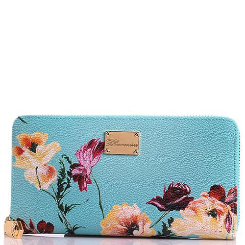 Женский кошелек Blumarine Anemone голубого цвета с цветочным принтом, фото
