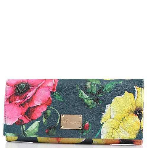 Женский кошелек Blumarine Anemone зеленого цвета с цветочным принтом, фото