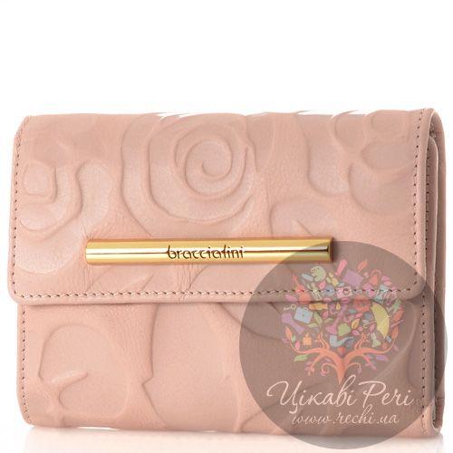 Портмоне Braccialini Fringuello из мягкой нежно-розовой кожи с цветочным тиснением, фото
