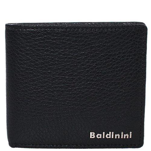 Небольшое черное портмоне Baldinini из зернистой кожи с фирменной шильдой, фото