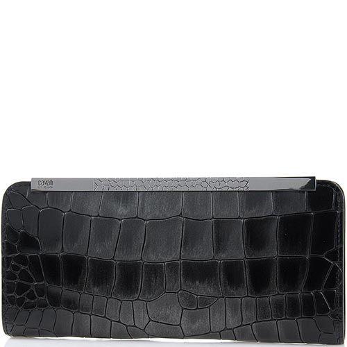 Женский кошелек Cavalli Class Julia на молнии кожаный лаковый черного цвета, фото