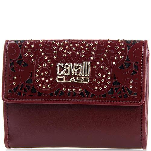 Портмоне женское Cavalli Class бордового цвета с перфорацией на клапане, фото