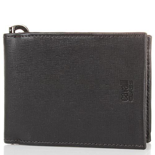 Мужское портмоне Cavalli Class Astoria темно-коричневого цвета с сафьяновой отделкой кожи и с металлическим держателем для купюр, фото