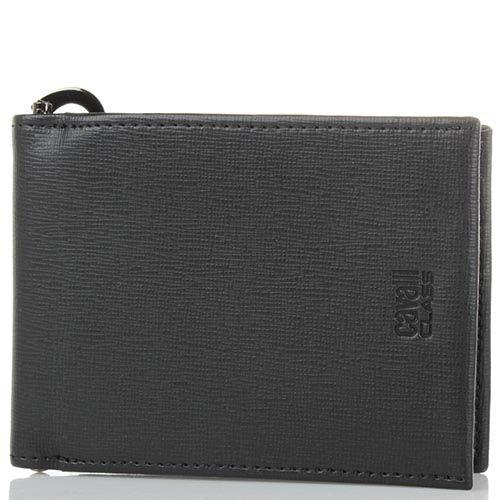 Мужское портмоне Cavalli Class Astoria черного цвета с сафьяновой отделкой кожи и с металлическим держателем для купюр, фото