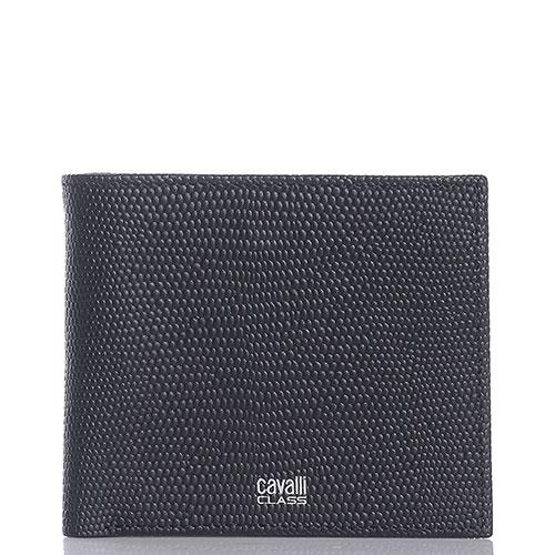 Черное портмоне Cavalli Class Monsieur из фактурной кожи, фото
