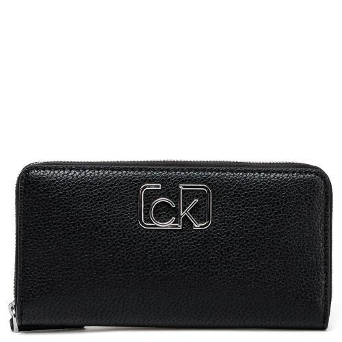 Черный кошелек Calvin Klein с брендовым логотипом, фото
