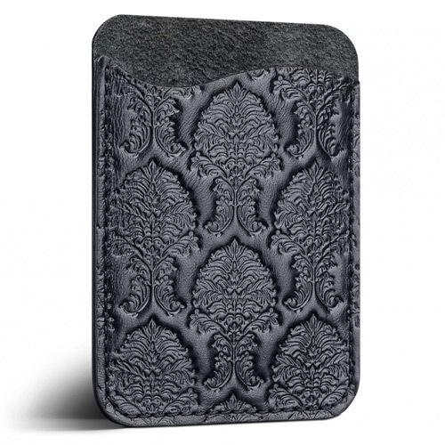 Кардхолдер Moreca Damask из черной кожи для пластиковых карт и купюр, фото