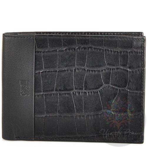 Мужское портмоне Cavalli Class кожаное черное под крокодила на 10 карт с отделением для документа, фото