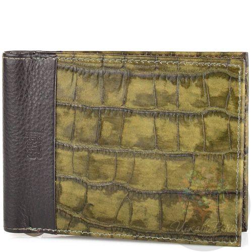 Портмоне Cavalli Class кожаное темно-зеленое под крокодила с зажимом для банкнот, фото