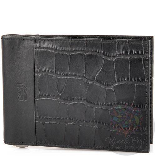 Портмоне Cavalli Class кожаное черное под крокодила с зажимом для банкнот, фото