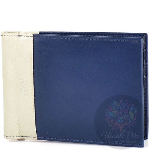 Портмоне Cavalli Class кожаное темно-синее с зажимом для банкнот и 6 слотами для карт, фото