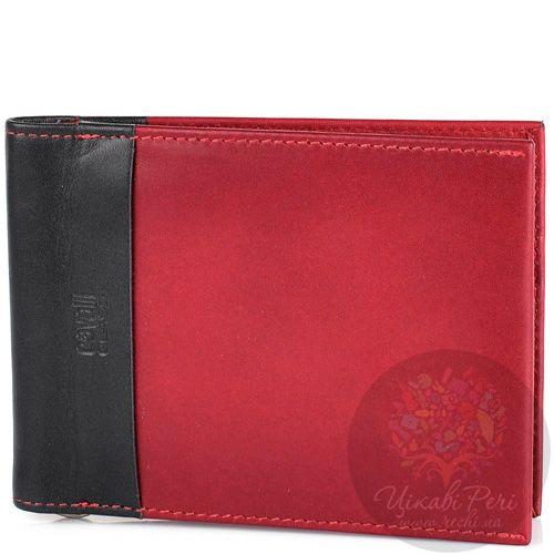 Портмоне Cavalli Class кожаное черно-бордовое с зажимом для банкнот и 6 слотами для карт, фото