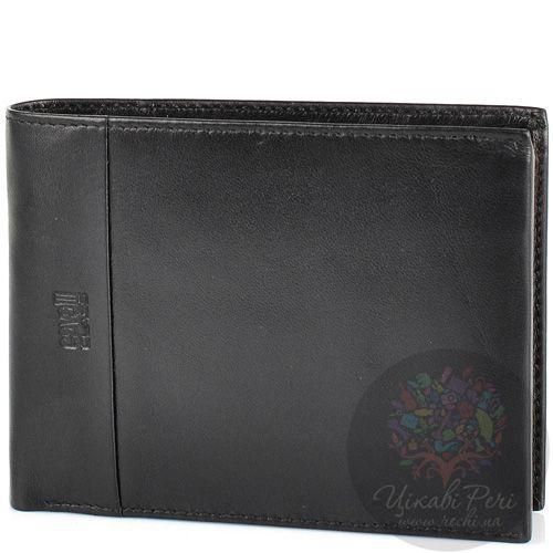 Портмоне Cavalli Class кожаное черное на 8 карт с отделением для документа и монетницей, фото