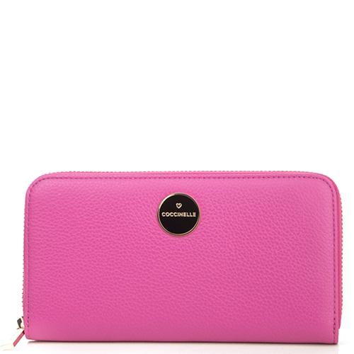 Розовый кошелек Coccinelle с брендовой шильдой, фото
