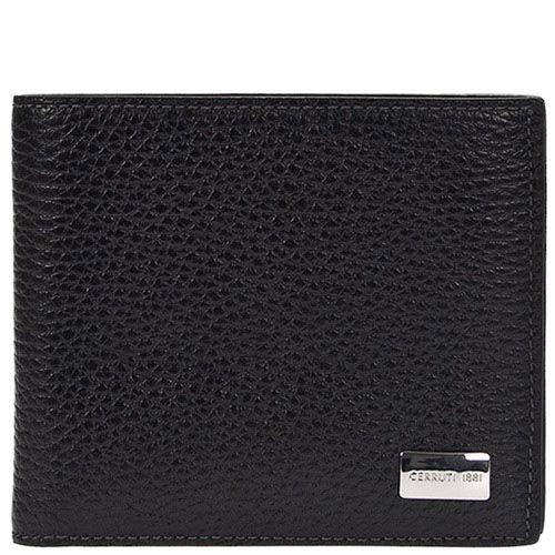 Горизонтальное черное портмоне Cerruti 1881 с большим количеством карманов, фото