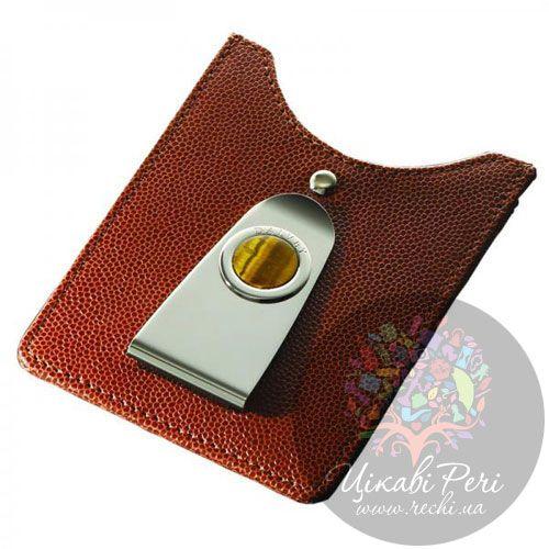 Кредитница-зажим для денег Dalvey коричневого цвета с тигровым глазом, фото