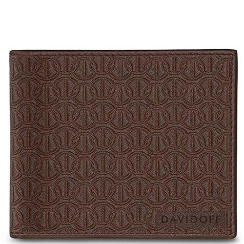 Портмоне Davidoff Zino коричневое с тиснением, фото
