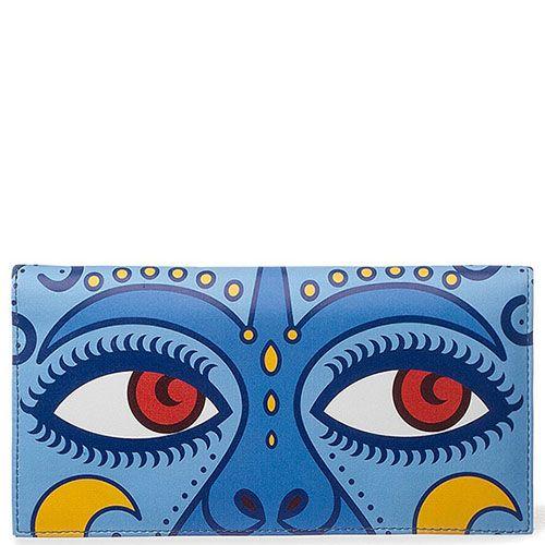 Портмоне из кожи с принтом Диво Зачарованная любовь синего цвета, фото
