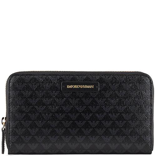 Черный кошелек Emporio Armani с монограммой бренда, фото