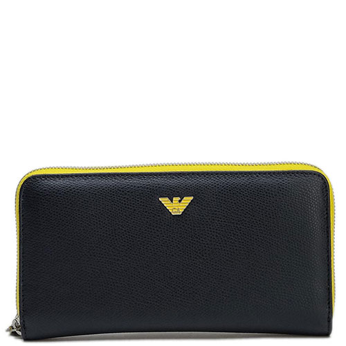 Черный кошелек Emporio Armani с желтыми вставками, фото
