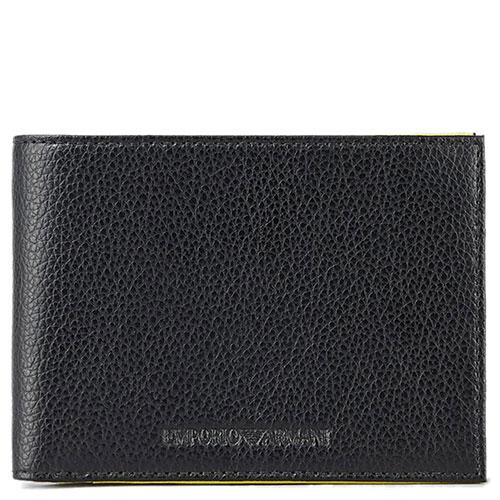 Портмоне из зернистой кожи Emporio Armani черного цвета, фото
