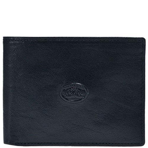 Минималистичное черное портмоне Tony Perotti Italico с фирменным тиснением посредине, фото