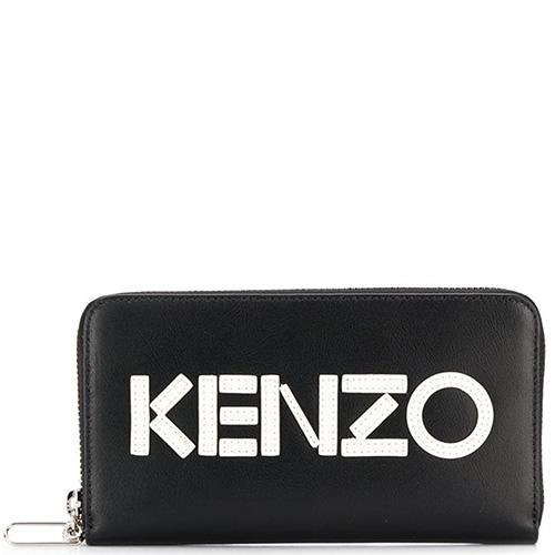 Черный кошелек на молнии Kenzo с белым лого, фото