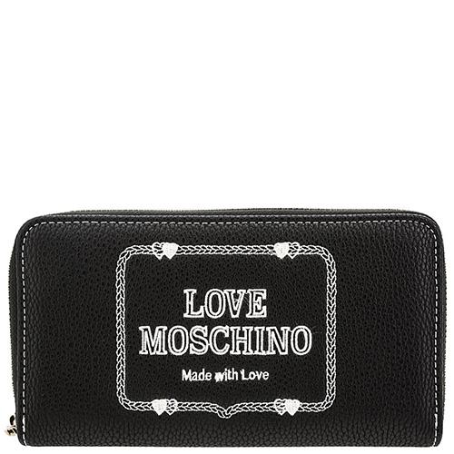 Черный кошелек Love Moschino с брендовой вышивкой, фото