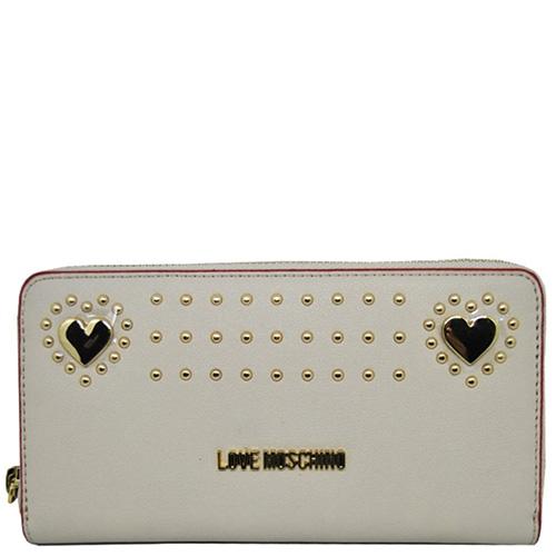 Бежевый кошелек Love Moschino Portafoglio с декором, фото