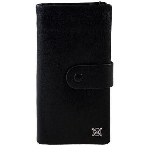 Вертикальное плоское портмоне Luxon из гладкой черной кожи, фото