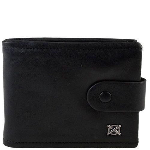 Черное портмоне на застежке Luxon из черной кожи со съемной кредитницей, фото