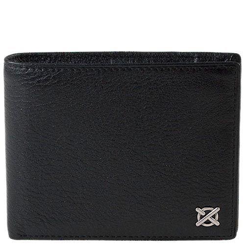 Черное кожаное портмоне Luxon с шильдой с множеством отделений, фото