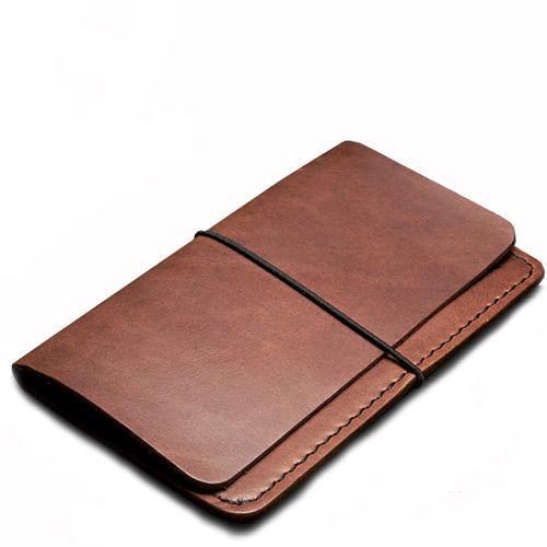 Кредитница Moreca из натуральной кожи на резинке коричневая, фото