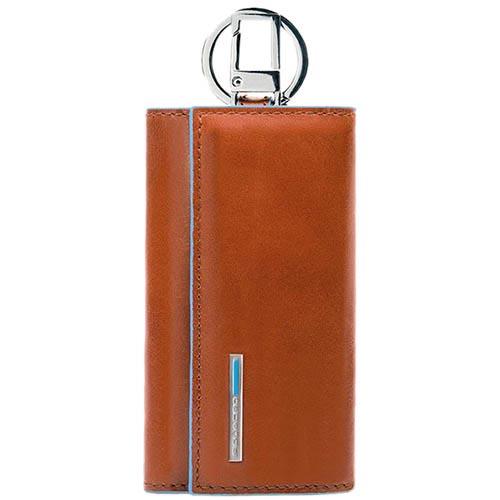 Ключница Piquadro Blue Square из кожи оранжевого цвета, фото