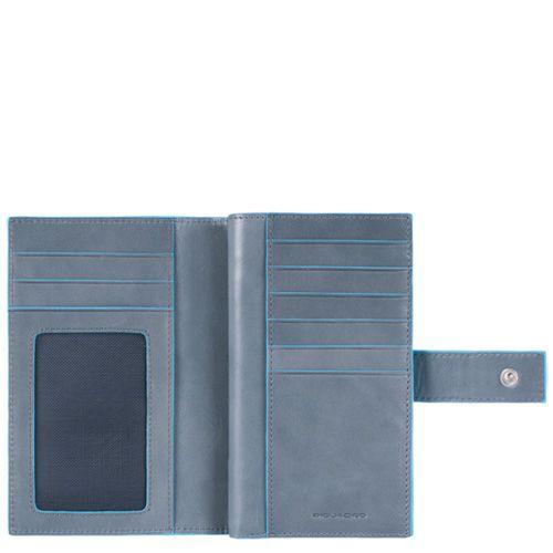 Кожаное портмоне Piquadro Blue square серо-голубое женское с монетницей на молнии, фото