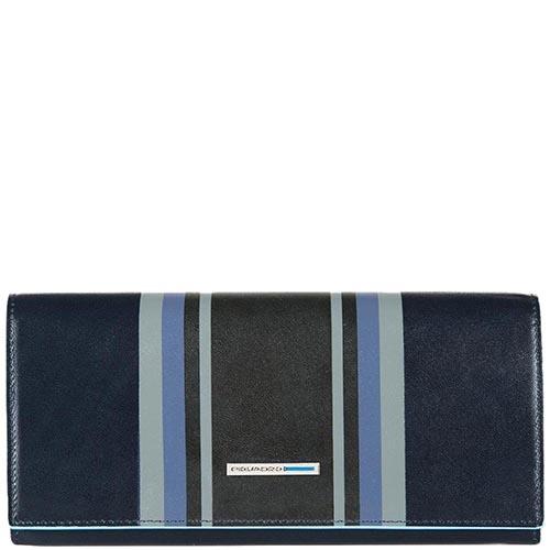 Черное портмоне Piquadro B2 Graphic с синим геометрическим принтом, фото